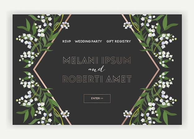 ウェディングサロンインターネットショップフローラルランディングページテンプレート。花のある春のセールバナーウェブページのウェブサイト。結婚式の招待状のロマンチックなデザイン。ベクトルイラスト