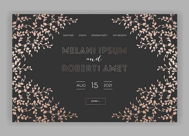 Свадебный салон интернет-магазин цветочная посадочная страница. весенняя распродажа баннер веб-сайт с золотыми фольгированными цветами. свадебные приглашения романтический дизайн. векторная иллюстрация