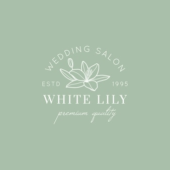 Wedding salon logo with lily flower in a minimal linear style. vector floral emblem and icon for bridal salon, boutiques, fashion store