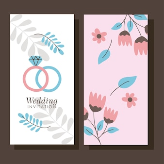 Wedding save the date banners with rings and flowers