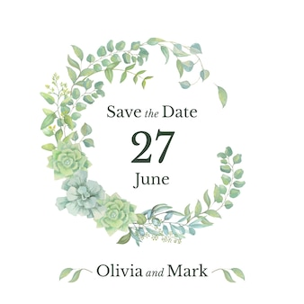 wedding save the date card with floral wreath