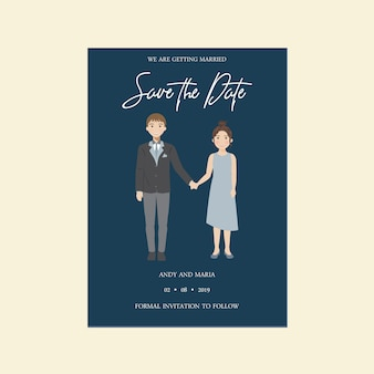 Wedding save the date cute invitation card, couple character illustration