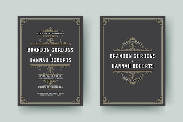 Wedding save the date invitation cards flourishes ornaments