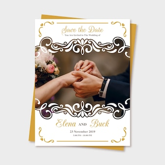 Wedding save the date invitation with photo