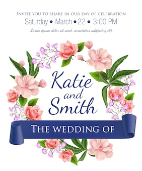 Wedding save the date template with floral wreath, roses, blossoms and violet ribbon.