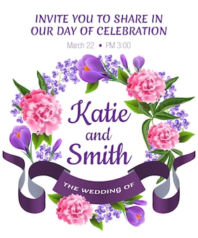 Wedding save the date template with peonies, snowdrops, floral wreath and violet ribbon.