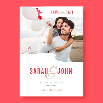 Wedding save the date template with photo