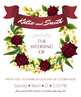 Wedding save the date template with roses, yellow floral wreath and maroon ribbon.