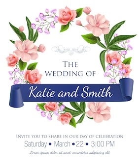 Wedding save the date with floral wreath, roses, blossoms and violet ribbon. t