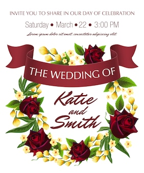 Wedding save the date with roses, yellow floral wreath and maroon ribbon.
