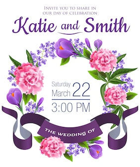 Wedding save the date with snowdrops, peonies, floral wreath and violet ribbon.