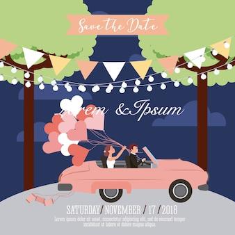 Свадьба сохранить дату карты Premium векторы