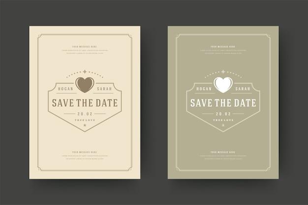 結婚式は、日付の招待カードのイラストを保存します