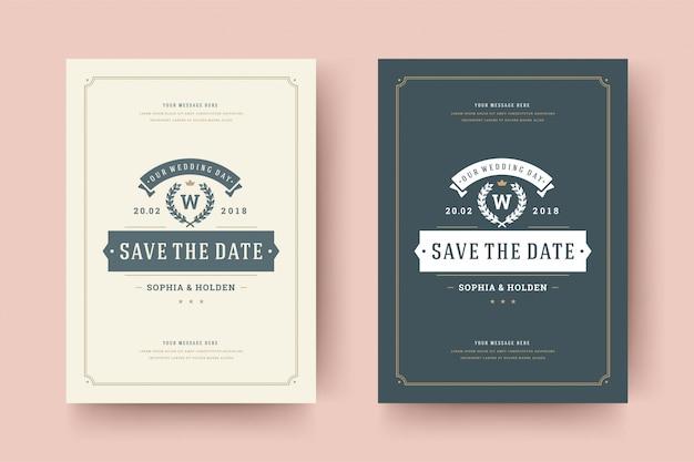 結婚式は日付の招待カードのベクトル図を保存します。