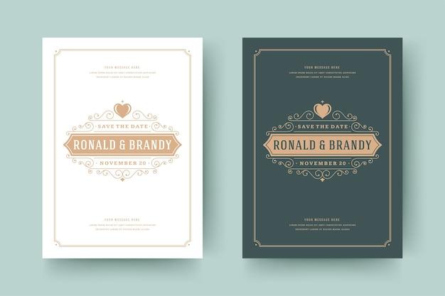 結婚式は日付を保存します招待状は装飾品を繁栄させます
