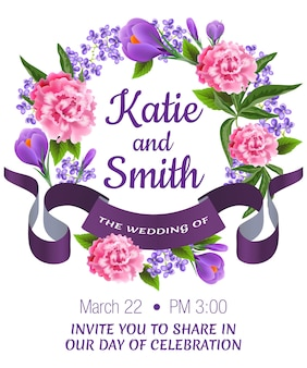 Wedding save the date with peonies, snowdrops, floral wreath and violet ribbon.