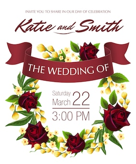 Wedding save the date with yellow floral wreath, red roses and maroon ribbon.