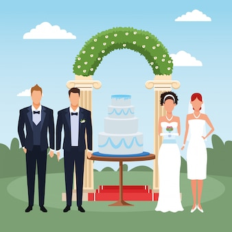 Wedding scenery with just married couple and groomsmen standing around the weeding cake and floral arch