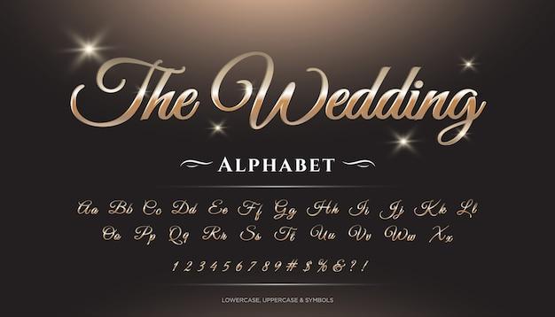 Wedding script 3d luxury alphabet font