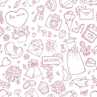 結婚式のシームレスなパターン。結婚式のシンボルと背景。背景恋愛結婚、花束とハートのイラスト