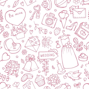 Wedding seamless pattern.  background with wedding symbols. background love marriage, bouquet and heart illustration