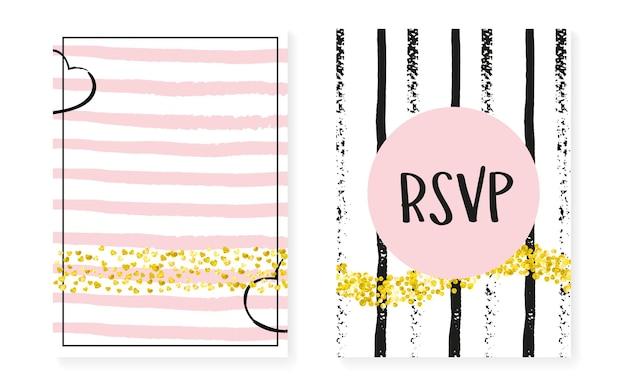 Wedding sequins. black splatter magazine. golden rain spray. handdrawn wallpaper set. stripe marriage textile. white concept. pink carnival frame. golden wedding sequins