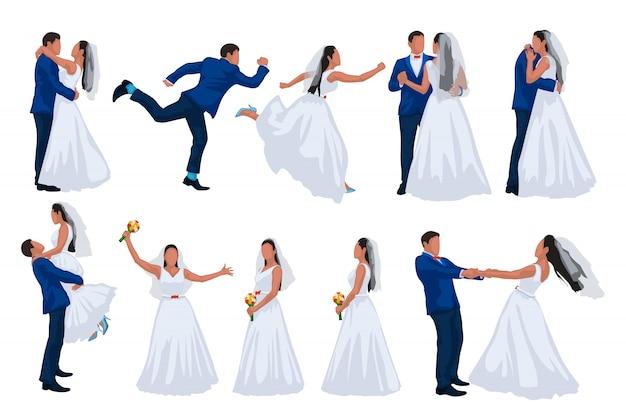 Wedding set of groom and bride