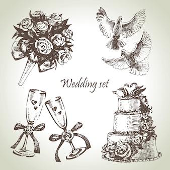 結婚式セット。手描きイラスト