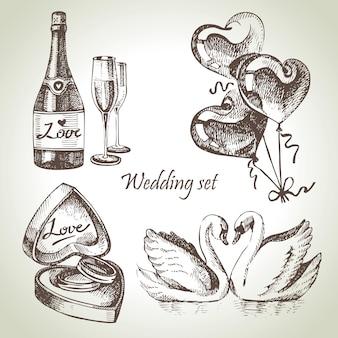Свадебный комплект. рисованной иллюстрации