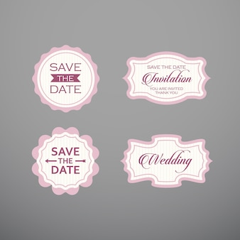 Свадебный набор этикетки, значки, дизайн.