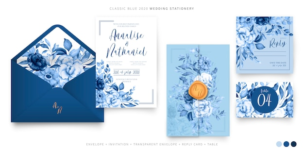 Wedding set template in classic blue