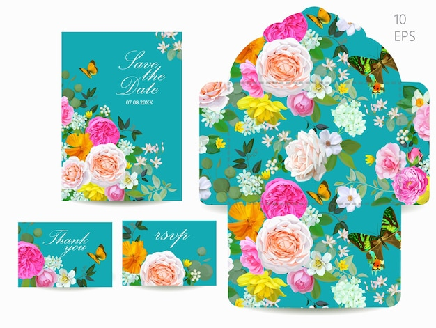 봄 꽃과 웨딩 세트