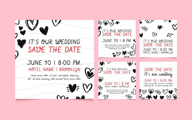 Wedding social media posts template with doodled hearts