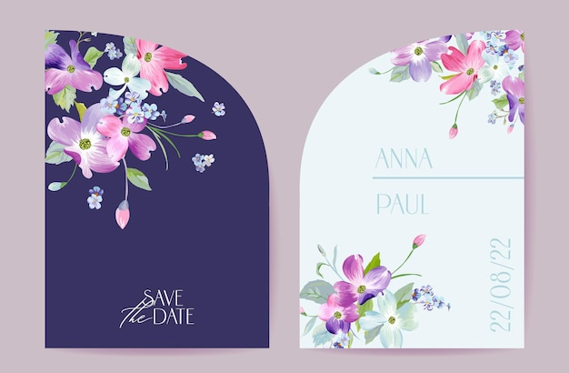 Wedding spring blooming floral vector card. dogwood blossom flowers invitation. watercolor template frame. botanical save the date cover design, modern poster, luxury background