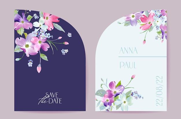 Свадебные весенние цветущие цветочные векторные карты. приглашение цветы кизила. рамка акварель шаблон. ботанический дизайн обложки save the date, современный плакат, роскошный фон