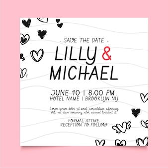 Свадебный квадратный флаер с нарисованными сердечками