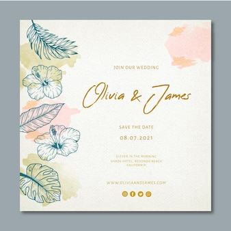 Wedding square flyer with floral ornaments
