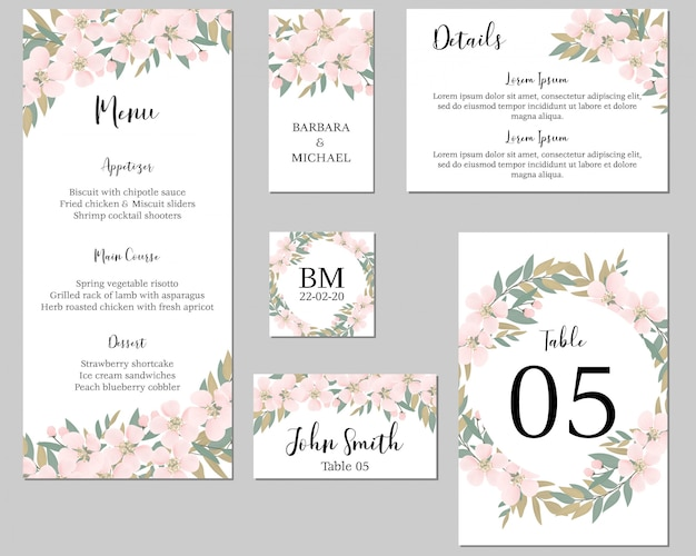 Wedding stationary template with cherry blossom flower