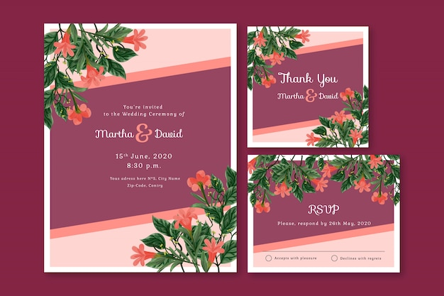 Wedding stationery card templates