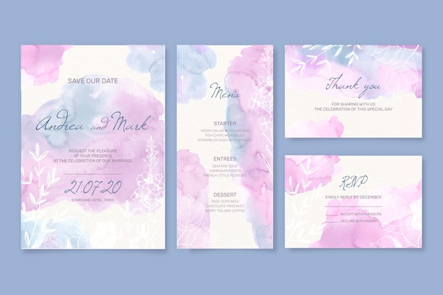 Wedding stationery and envelope in watercolour style