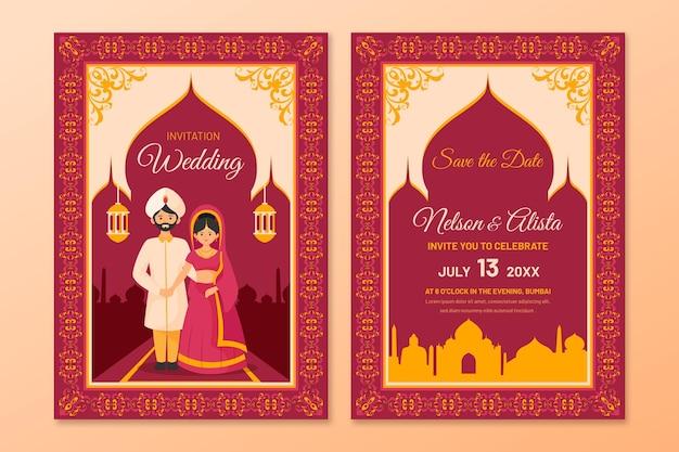 イラスト付きのインドのカップルのための結婚式の文房具
