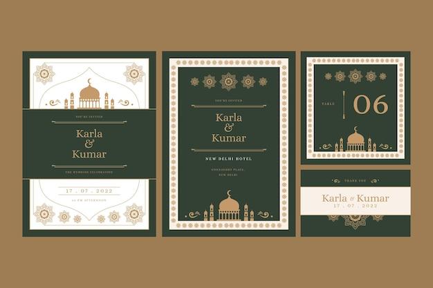 東洋の装飾品でインドのカップルのための結婚式の文房具