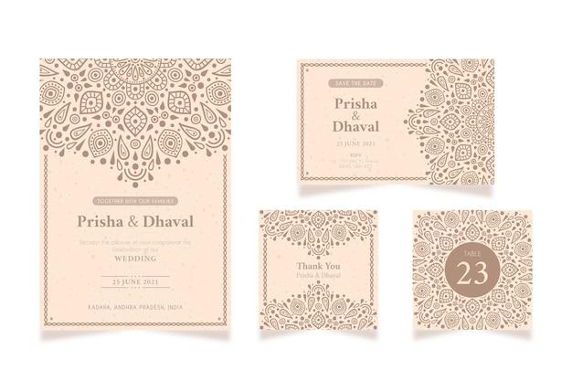 インドのカップルのための結婚式の文房具