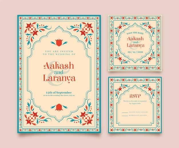 Wedding stationery for indian couple with floral motifs