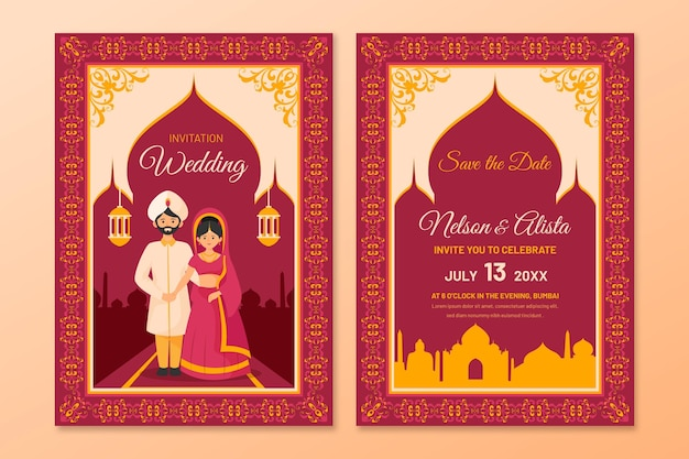 Wedding stationery for indian couple with illustrations
