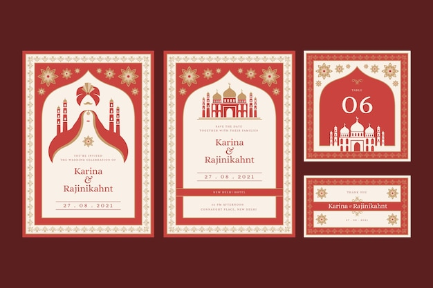 Wedding stationery for indian couple with oriental motifs