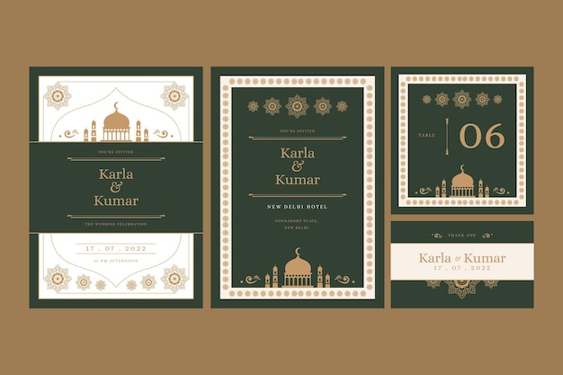 Wedding stationery for indian couple with oriental ornaments