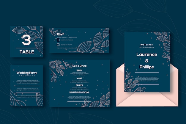 Wedding stationery set template