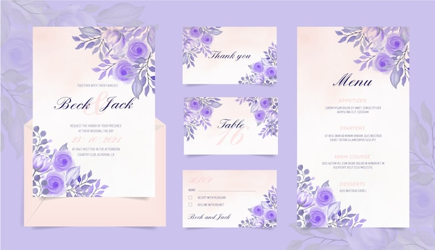 Wedding stationery set with watercolor flowers