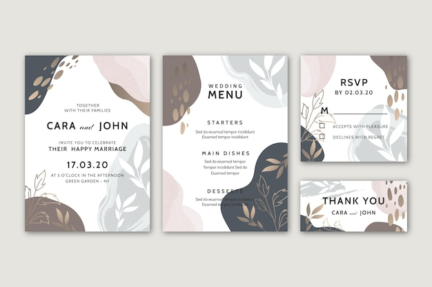 Wedding stationery template concept